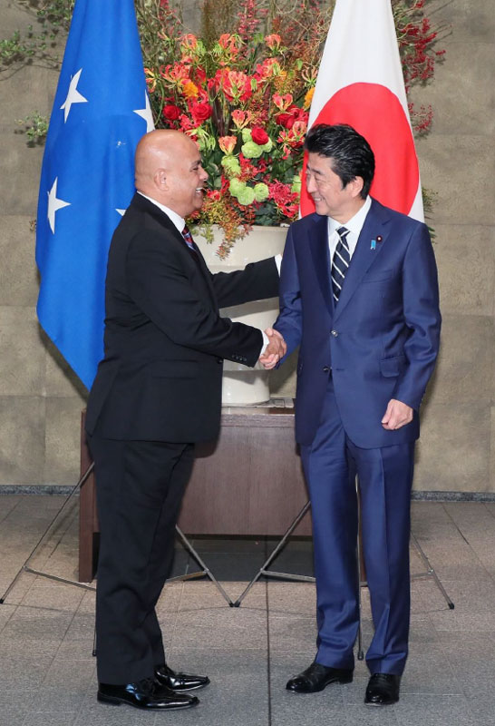 His Excellency David W. Panuelo, President of the FSM and His Excellency Shinzo Abe, Prime Minister of Japan