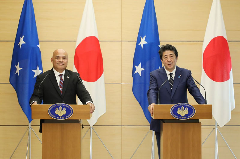 President Panuelo and Prime Minister Abe during the Joint Press Conference